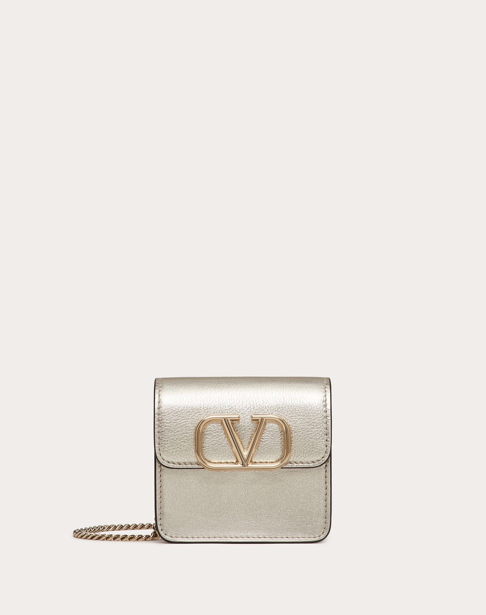 COMPACT VSLING METALLIC CALFSKIN WALLET WITH CHAIN STRAP