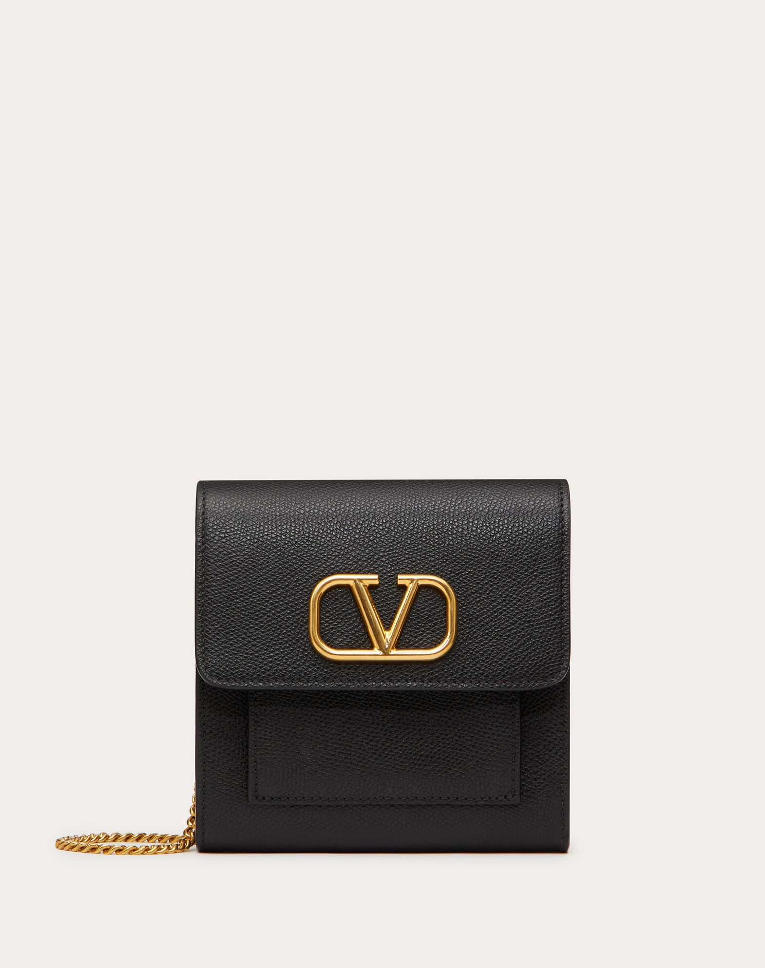VLOGO GRAINY CALFSKIN POUCH WITH CHAIN STRAP
