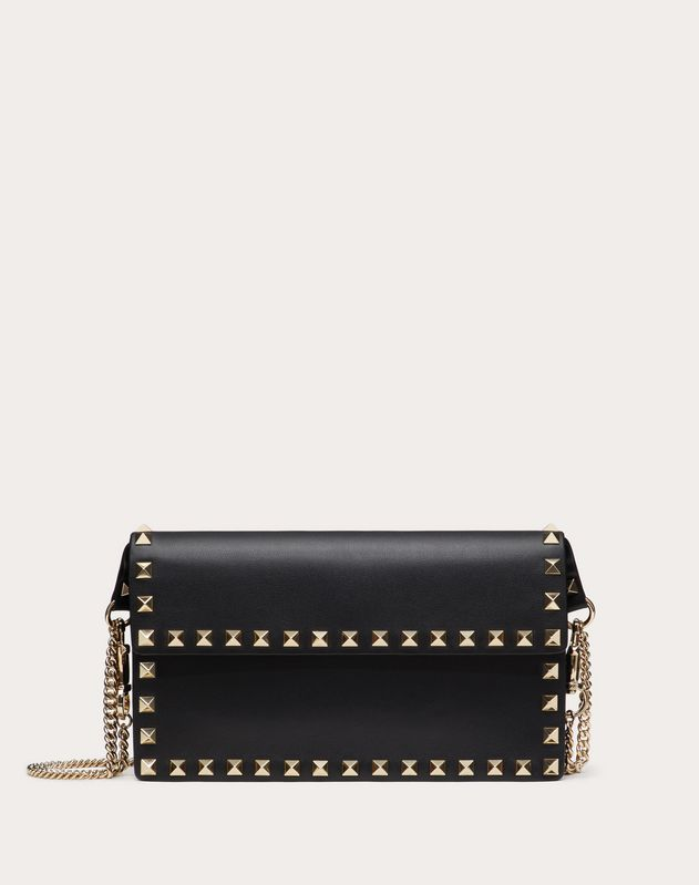 ROCKSTUD CALFSKIN POUCH WITH ADJUSTABLE STRAP