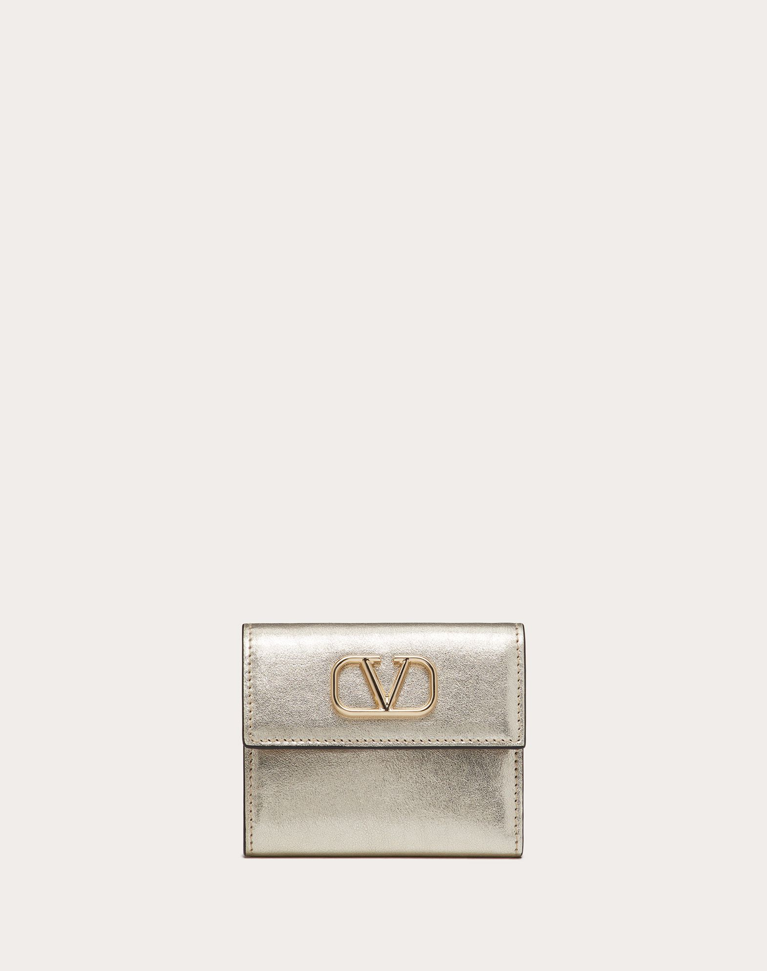 SMALL VSLING METALLIC CALFSKIN WALLET