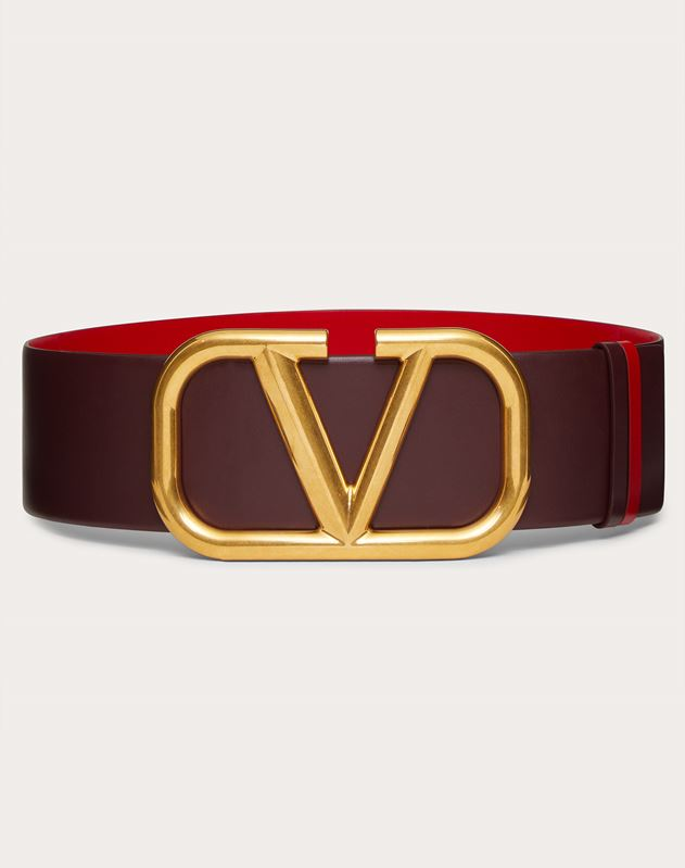 REVERSIBLE VLOGO BELT IN GLOSSY CALFSKIN 70 MM