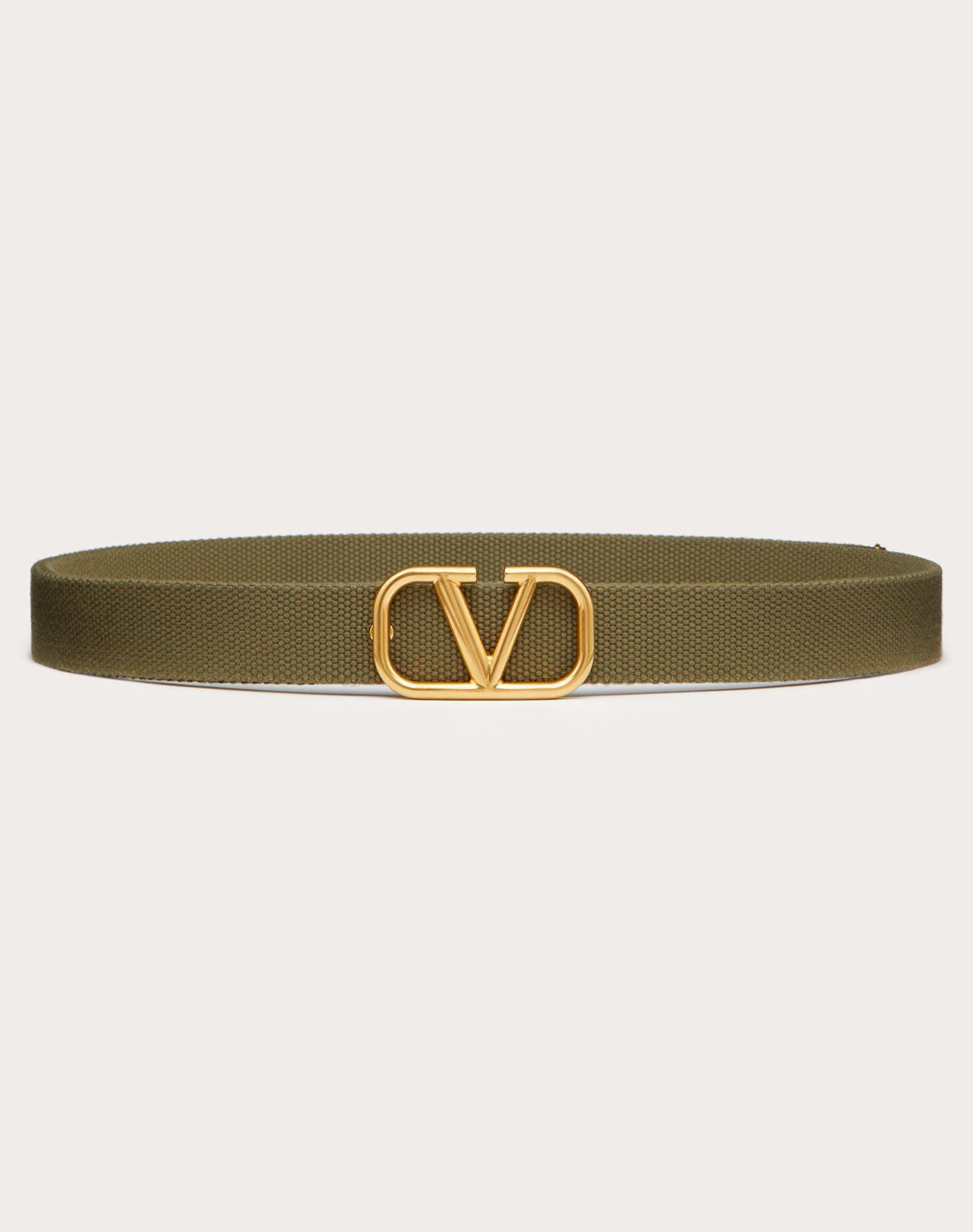 Valentino Garavani Uomo Vlogo Signature Tape Belt In Military Green