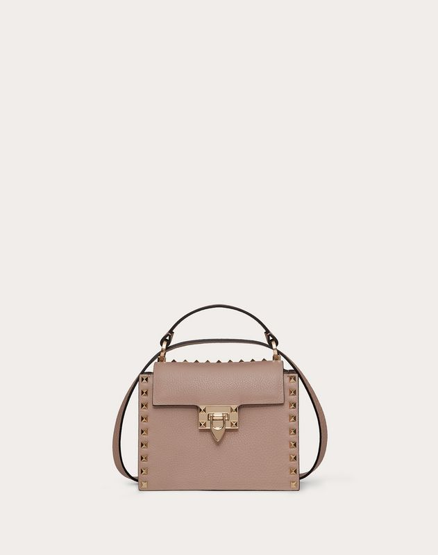 Rockstud Grainy Calfskin Handbag For