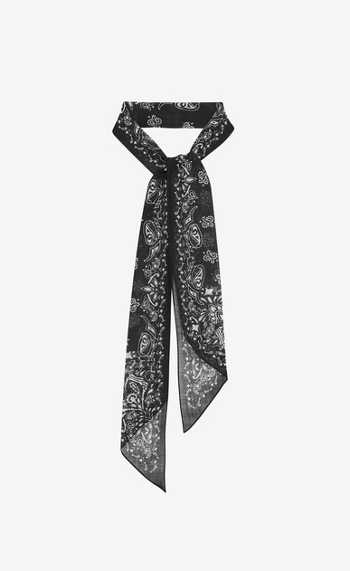 Lavallière tie in wool muslin with skull and heart print