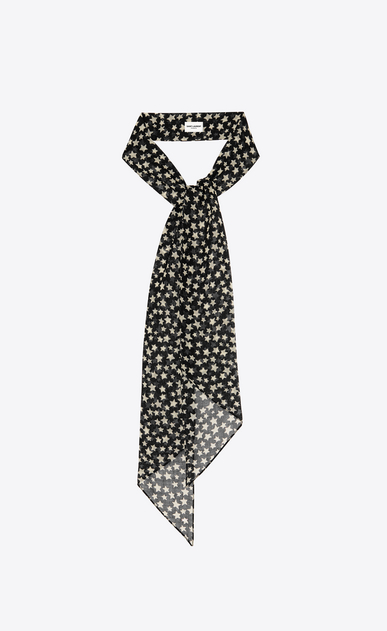 Lavallière in wool muslin with YSL star print