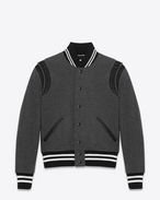 SAINT LAURENT Casual Jackets U TEDDY JACKET IN Grey Virgin Wool and Black Leather f