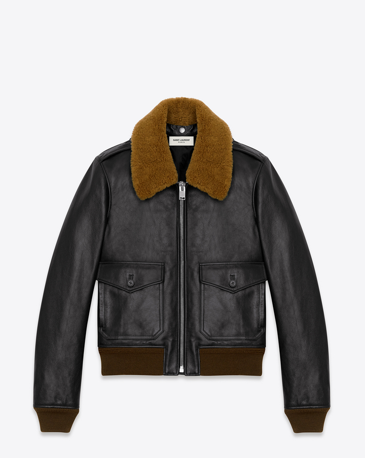 Saint Laurent Classic Flight Jacket In Black Leather And Brown