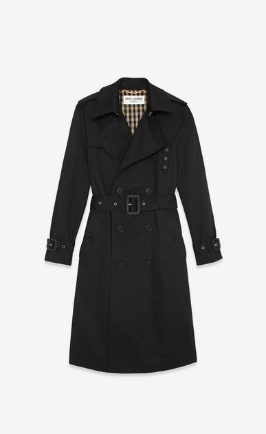 SAINT LAURENT Coats D CLASSIC TRENCH COAT IN BLACK TECHNICAL GABARDINE a_V4