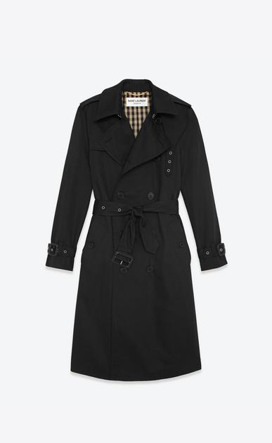 SAINT LAURENT Coats D CLASSIC TRENCH COAT IN BLACK TECHNICAL GABARDINE b_V4