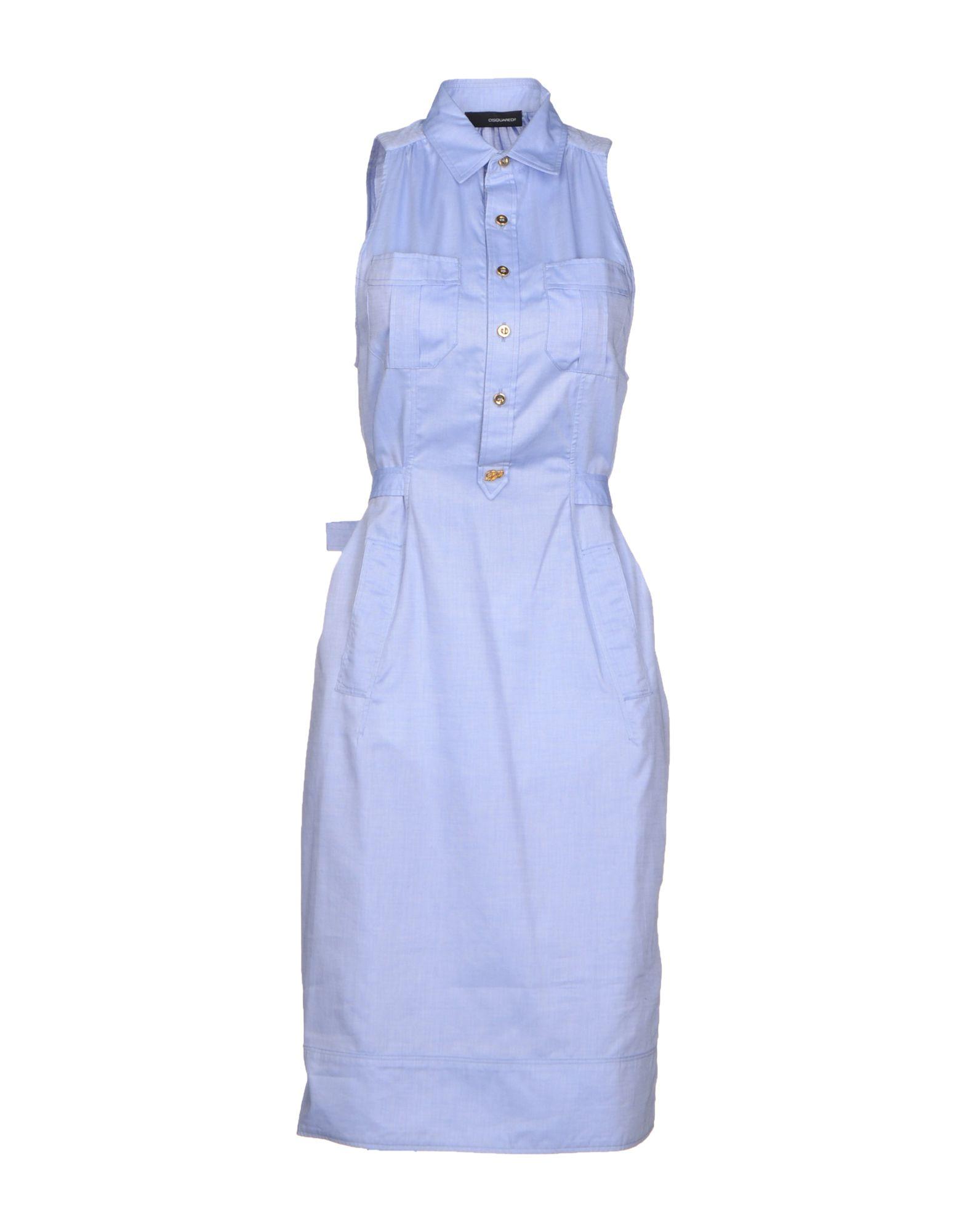 Платье до колена  Голубой цвета