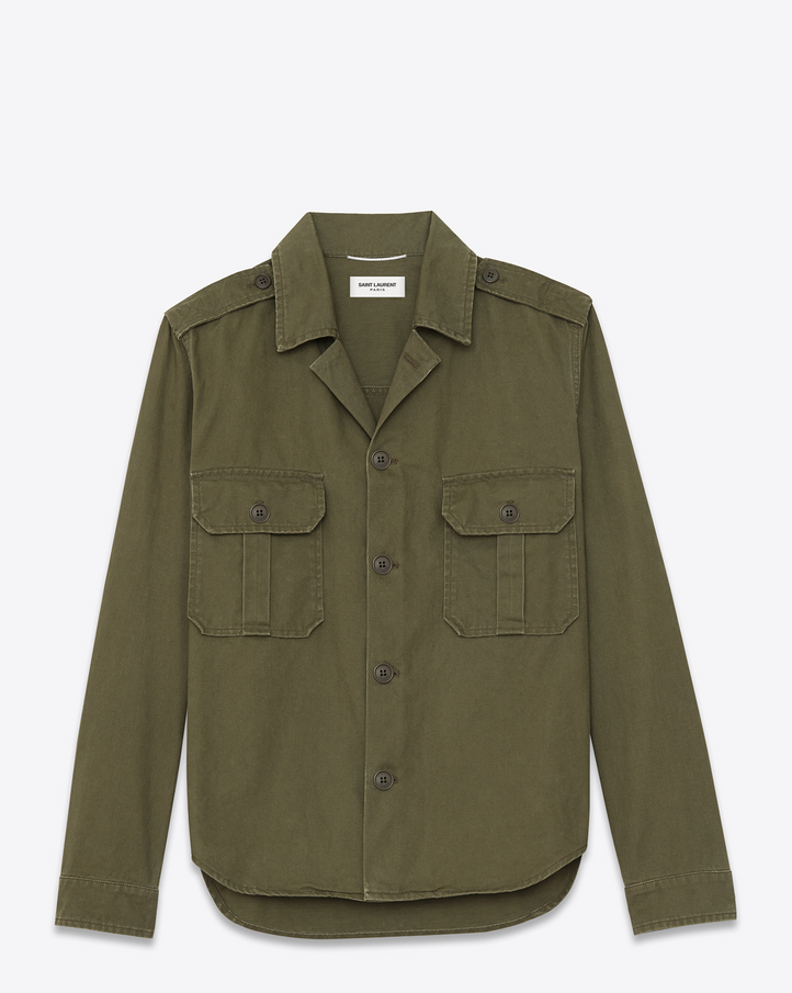 Saint Laurent Oversized Army Shirt Jacket In Khaki Cotton And ...