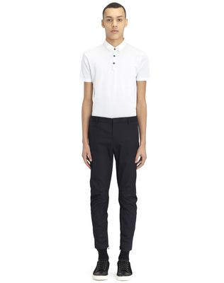 COTTON GABARDINE BIKER TROUSERS