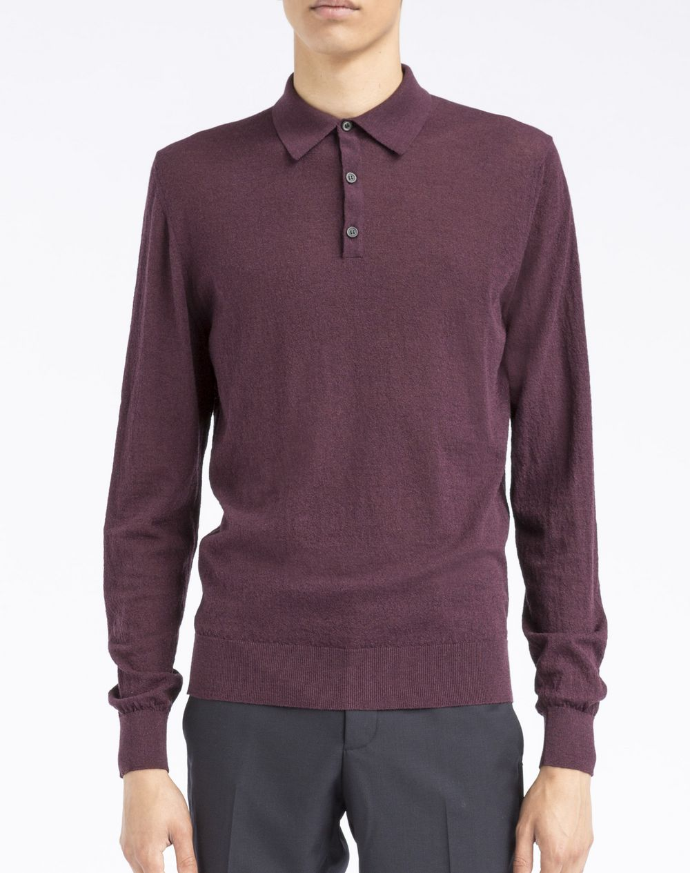 Lanvin Polo Collared Embossed Effect Knit Sweater Knitwear