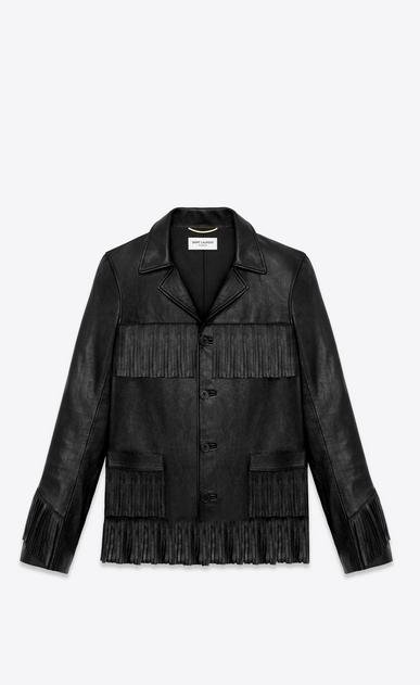 SAINT LAURENT Leather jacket D CLASSIC CURTIS FRINGE JACKET IN BLACK LEATHER a_V4