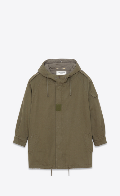 SAINT LAURENT Casual Jackets D Military Parka in Military Khaki Cotton Twill a_V4