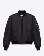 Classic Bomber Jacket in Black Nylon
