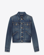 SAINT LAURENT Casual Jackets D ORIGINAL Western JEAN JACKET IN Dirty DARK BLUE DENIM f