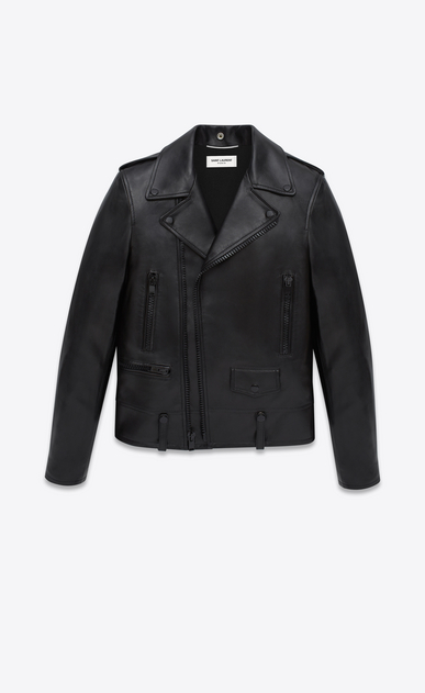 SAINT LAURENT Leather jacket U CLASSIC MOTORCYCLE JACKET IN BLACK LEATHER a_V4
