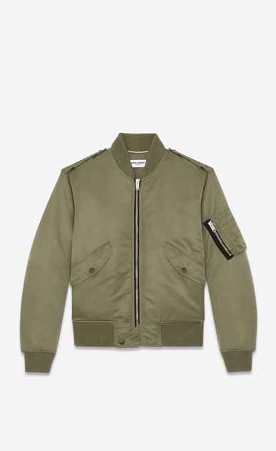 SAINT LAURENT Casual Jackets U Classic Bomber Jacket in Khaki Nylon a_V4