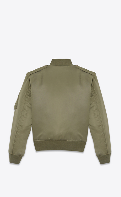 SAINT LAURENT Casual Jackets U Classic Bomber Jacket in Khaki Nylon b_V4