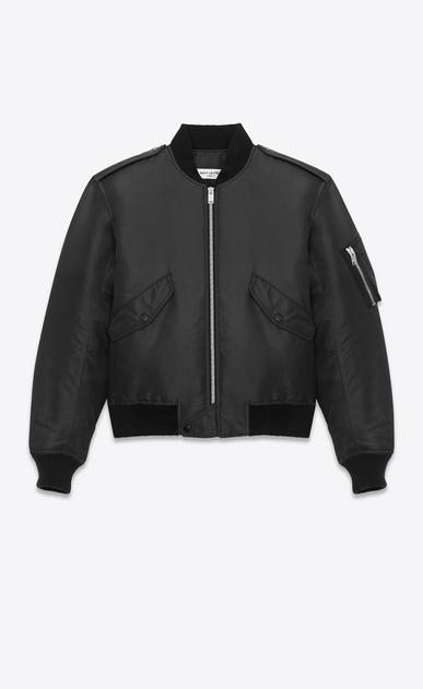 SAINT LAURENT Casual Jackets U Classic Bomber Jacket in Black Nylon a_V4