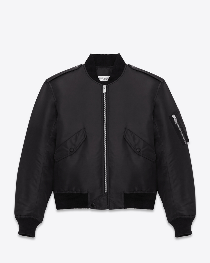 Saint Laurent Classic Bomber Jacket In Black Nylon | YSL.com