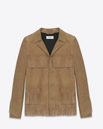SAINT LAURENT Leather jacket D CLASSIC CURTIS FRINGE JACKET IN Beige LEATHER f