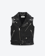 SAINT LAURENT Leather jacket D Classic Motorcycle Vest in Black Leather f