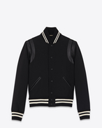 SAINT LAURENT Casual Jackets D Classic Teddy Jacket in Black Wool Gabardine and Leather f