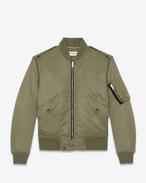 SAINT LAURENT Casual Jackets D Classic Bomber Jacket in Khaki Nylon f