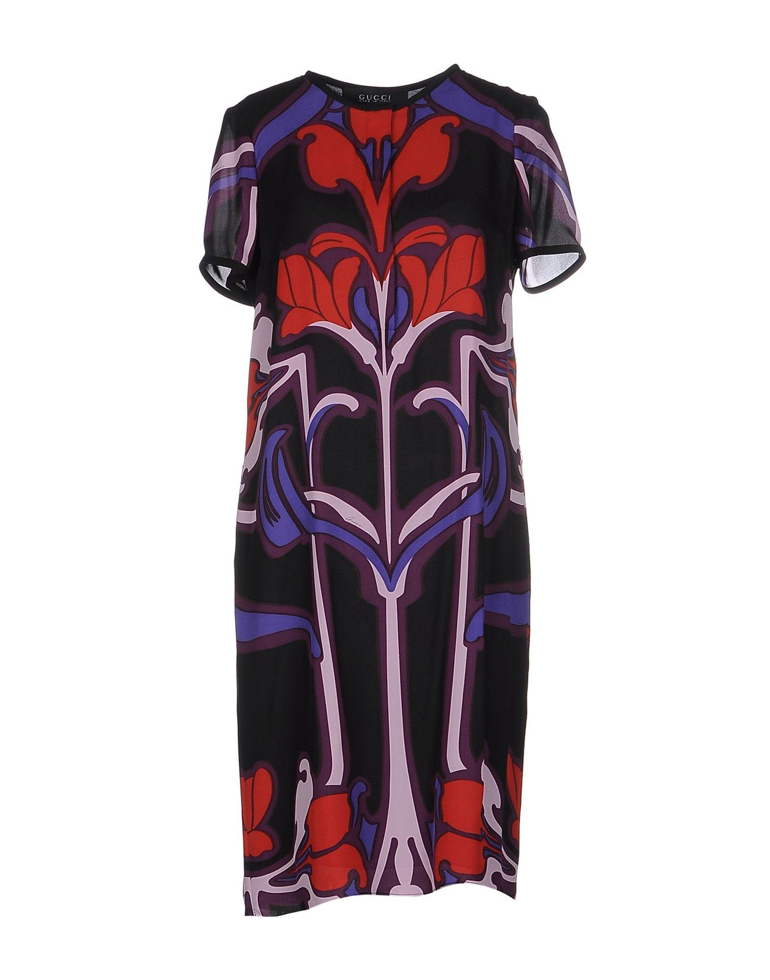 GUCCI Damen Knielanges Kleid Farbe Schwarz Größe 3