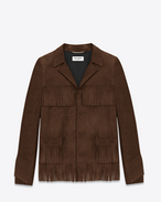 SAINT LAURENT Leather jacket D Classic CURTIS fringe jacket in Brown Suede f