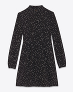 Band Collar Shirt Dress in Black and Shell Polka Dot printed Silk Crêpe