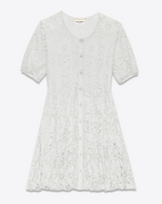 Tiered Babydoll Dress in Ivory Cotton, Viscose and Polyamide Lace