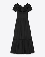 BOHÈME Long Dress in Black Cotton Voile Organza