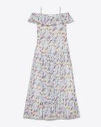 Abito PAYSANNE lungo color bianco sporco, blu, verde e rosa in crepon di seta con stampa Floral