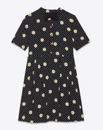 JULIA Mini Dress in Black, Shell and Yellow Daisy and Polka Dot Printed Viscose