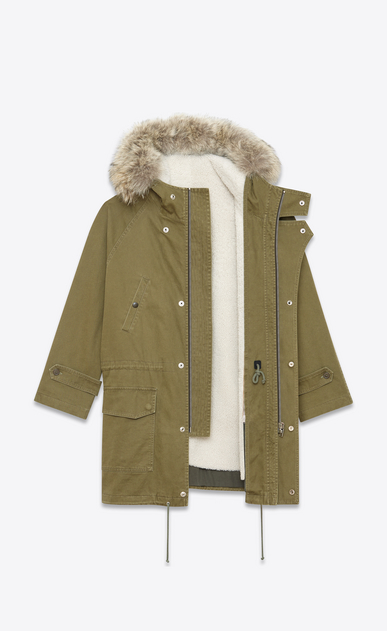 SAINT LAURENT Coats D Hooded Parka in Khaki Cotton and Linen Gabardine, Ivory Shearling and Coyote Fur b_V4