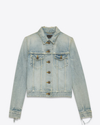 SAINT LAURENT Casual Jackets D ORIGINAL Distressed Jean Jacket in Dirty Light Blue Trash Denim f
