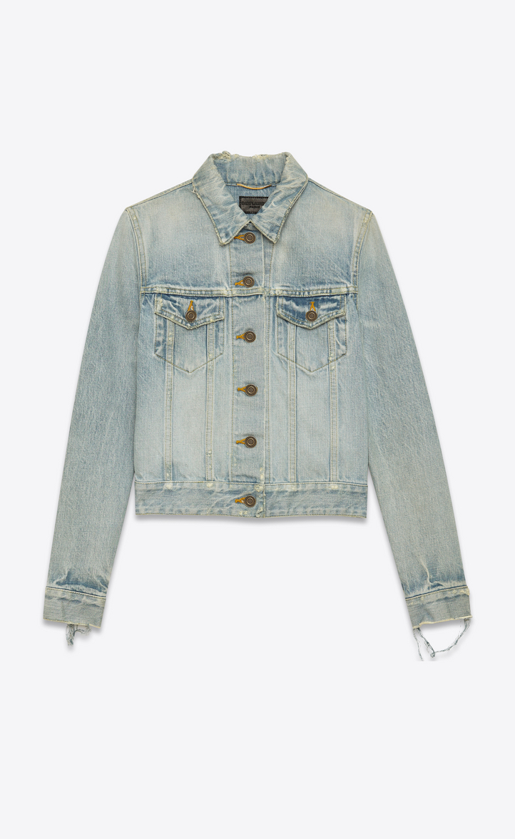 Original Jean Distressed Jacket Dirty In Light Saint Blue Laurent wCWcxxT
