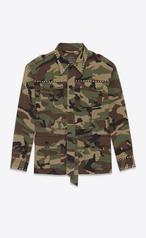 Saint Laurent Oversized Studded Military Jacket In