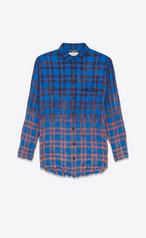 Saint Laurent Shirt Dress In Blue Black And Red D 233 Grad 233