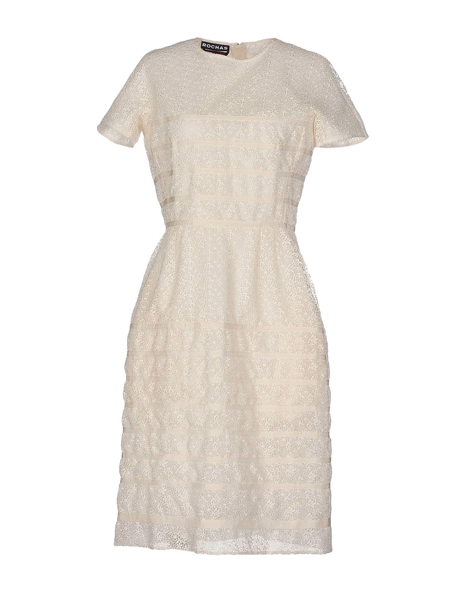 Платье до колена  Белый цвета