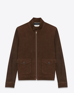 SAINT LAURENT Leather jacket U Aviator Jacket in Brown Suede f