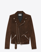 SAINT LAURENT Leather jacket U Fringed Motorcycle Jacket in Brown Suede f