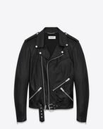 Lace-Up Motorcycle Jacket in Black Leather