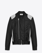 Band Collar Jacket in Black and Silver Leather