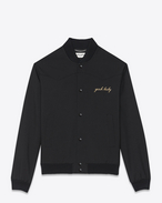 "SAINT LAURENT Casual Jackets U ""YEAH BABY"" Jacket in Black Wool Gabardine f"