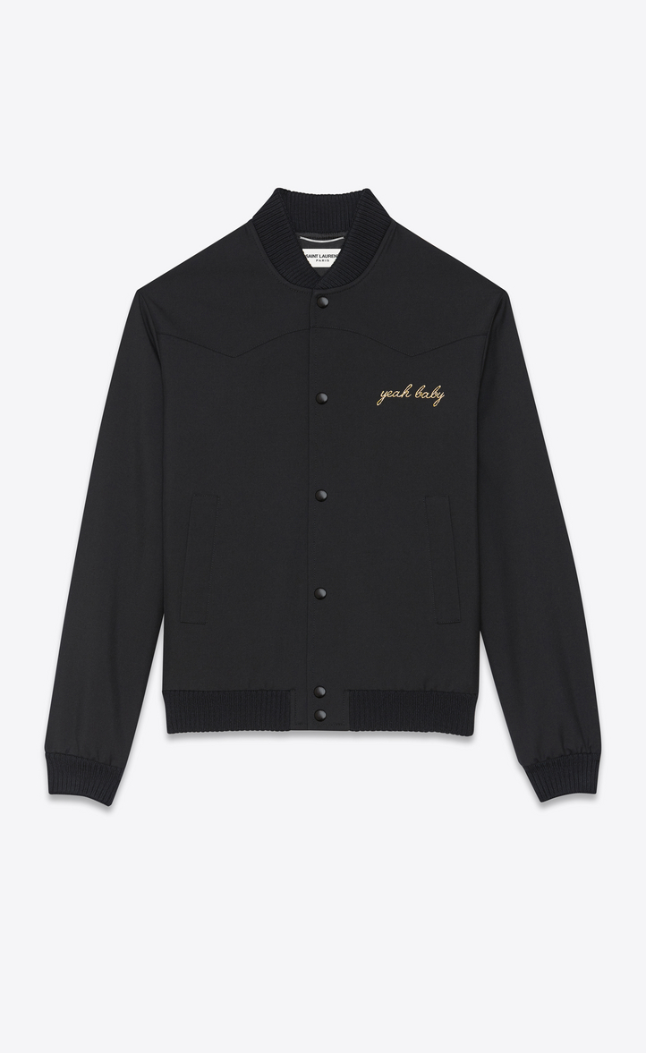 saint laurent yeah baby jacket in black wool gabardine ysl com