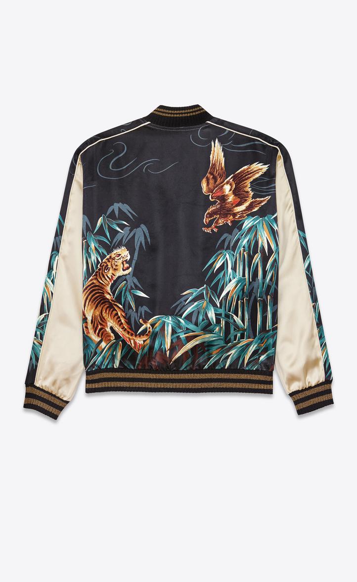 Saint Laurent Teddy Jacket In Navy Blue Black And Brown Eagle Jaket Boomber Zoom Tiger Printed Viscose Rear